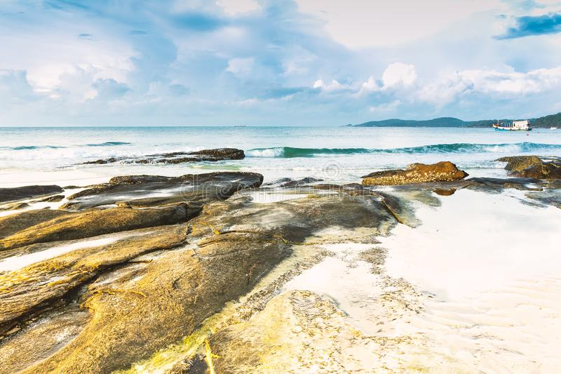 The beauty of the sea and rocks at the beach.  royalty free stock image