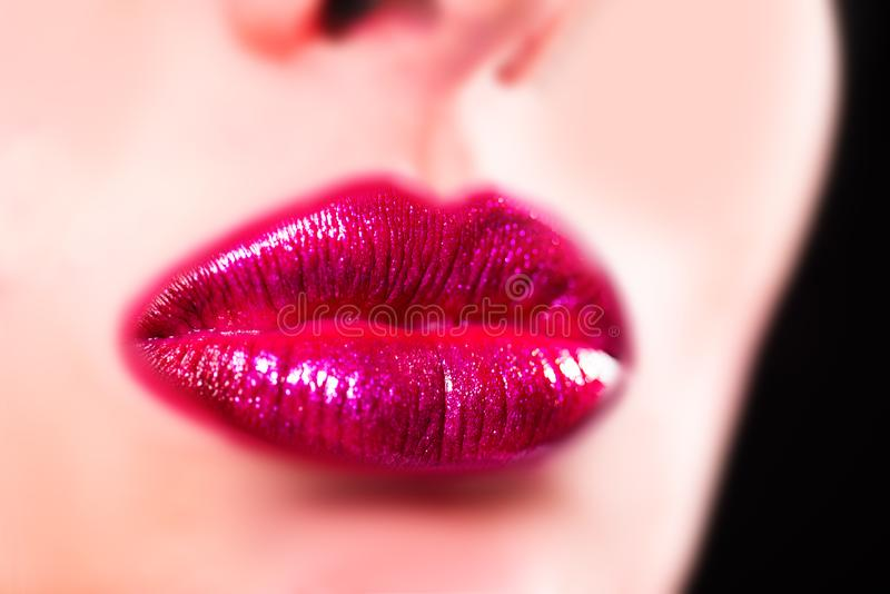 Beauty sensual lips, beautiful lip. Sexy sensual lip. Close-up big lips, bright lipstick. Glitter, lipstick, gloss royalty free stock photo