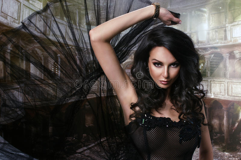 Beauty sensual woman in dress royalty free stock images