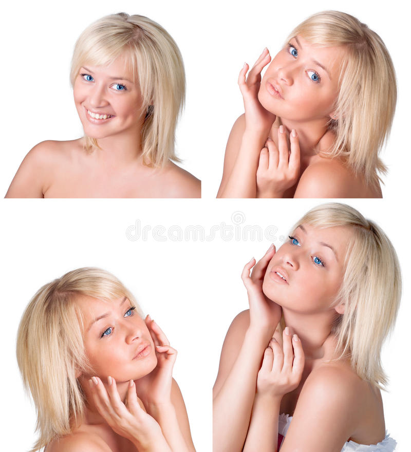 Beauty set with young lady with blond hair royalty free stock photography