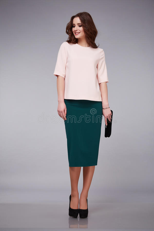 Beauty dress clothing makeup fashion style woman. Beauty woman lady wearing casual business clothes skirt and blouse silk cotton wear, new collection catalog royalty free stock photos