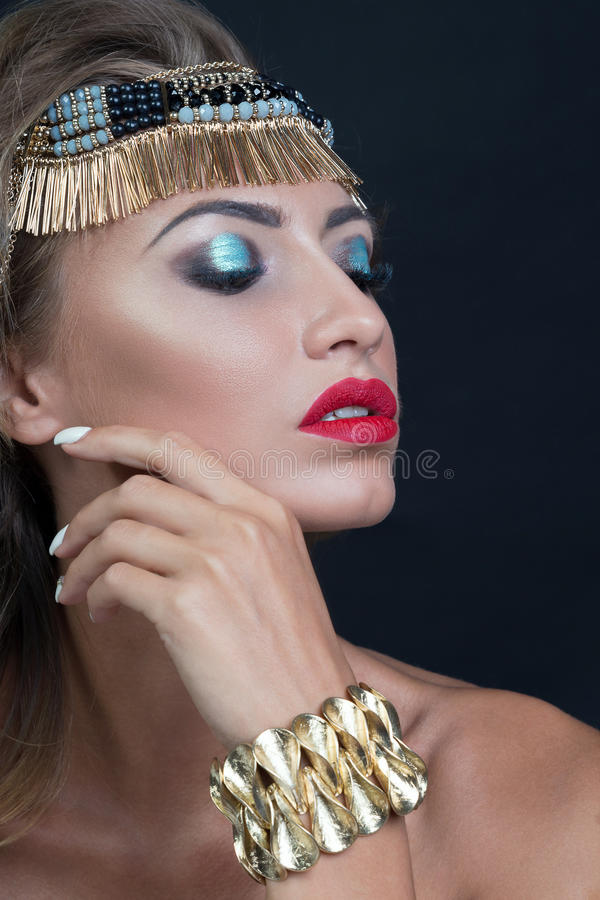 Beauty fashion model woman portrait, isolated on black background royalty free stock images