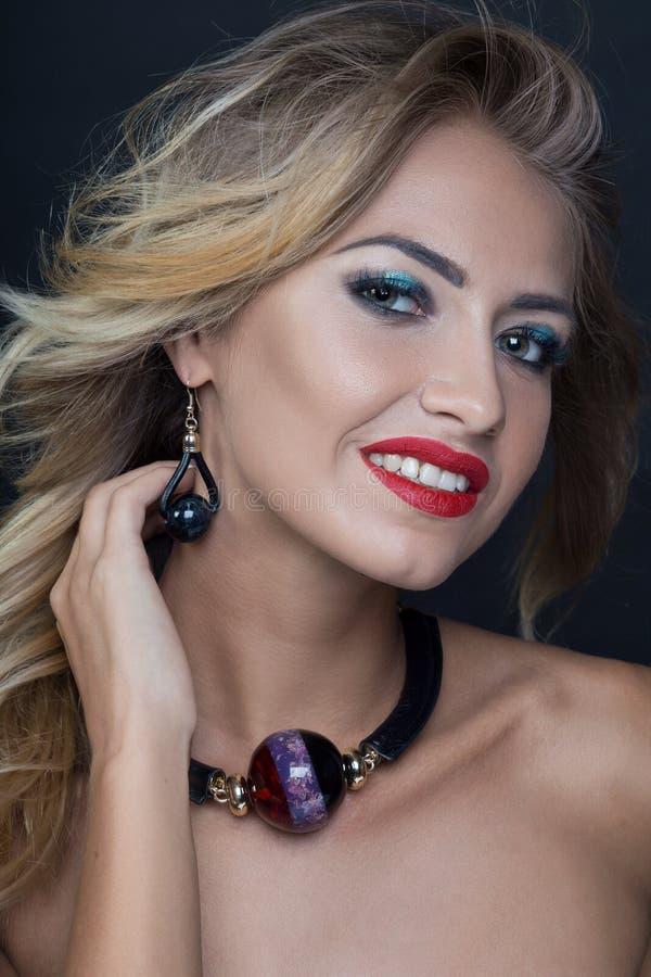 Beauty fashion model woman portrait, isolated on black background royalty free stock photo