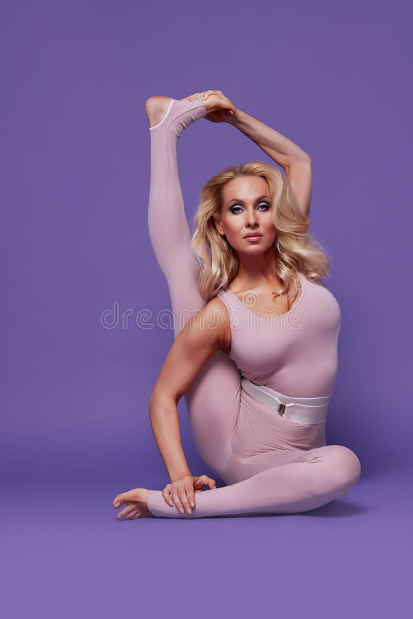 Beauty woman sport yoga pilates fitness body shape clothes royalty free stock images