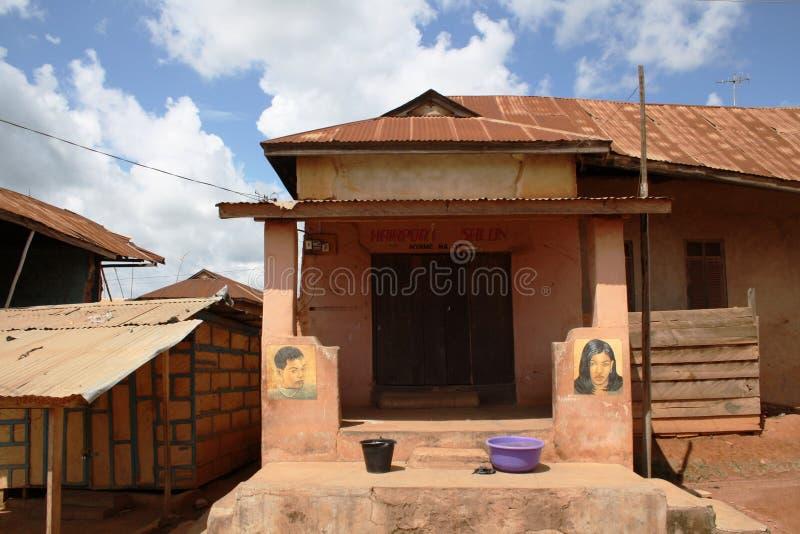 Beauty shop in Ghana. Beauty shop. Ashanti's region, Republic of Ghana royalty free stock photography