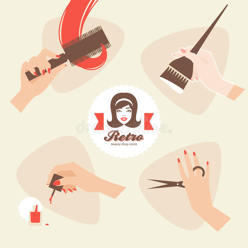Beauty shop icons. Beauty shop retro style icons stock illustration
