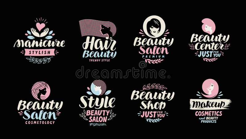 Beauty shop, salon, cosmetic or makeup logo. Handwritten in a beautiful calligraphic text stock illustration