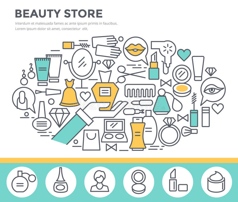 Beauty and shopping concept illustration. royalty free illustration