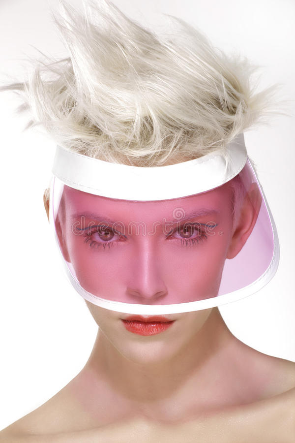 Beauty shot blond perfect young model wear pink visor. On white stock photos