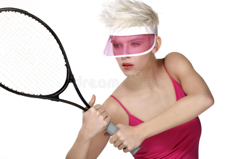 Beauty shot blond perfect young model wear pink visor. On white royalty free stock photography