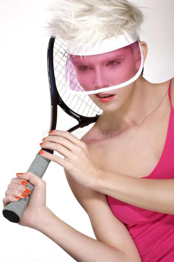 Beauty shot blond perfect young model wear pink visor stock images