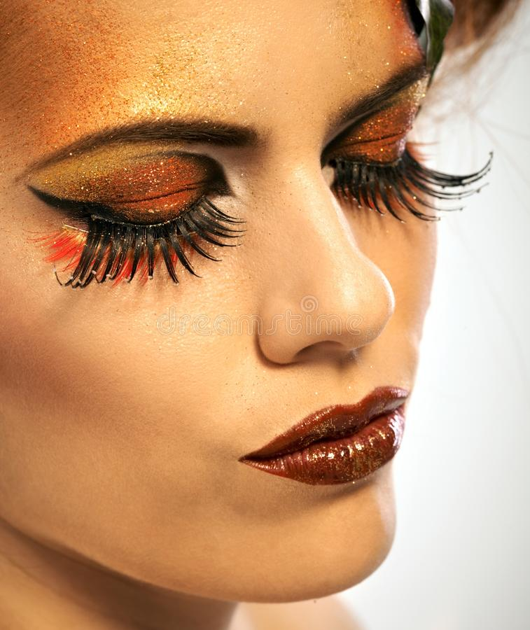 Beauty shot woman in autumn makeup royalty free stock image