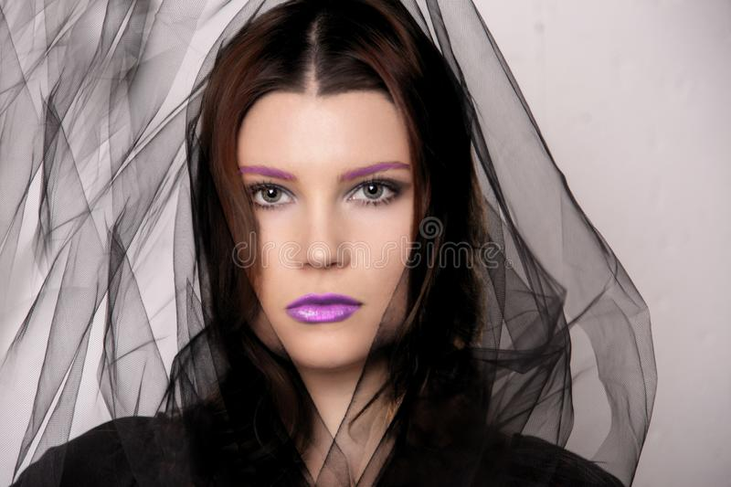 Beauty shot of woman with fuchsia makeup stock photo