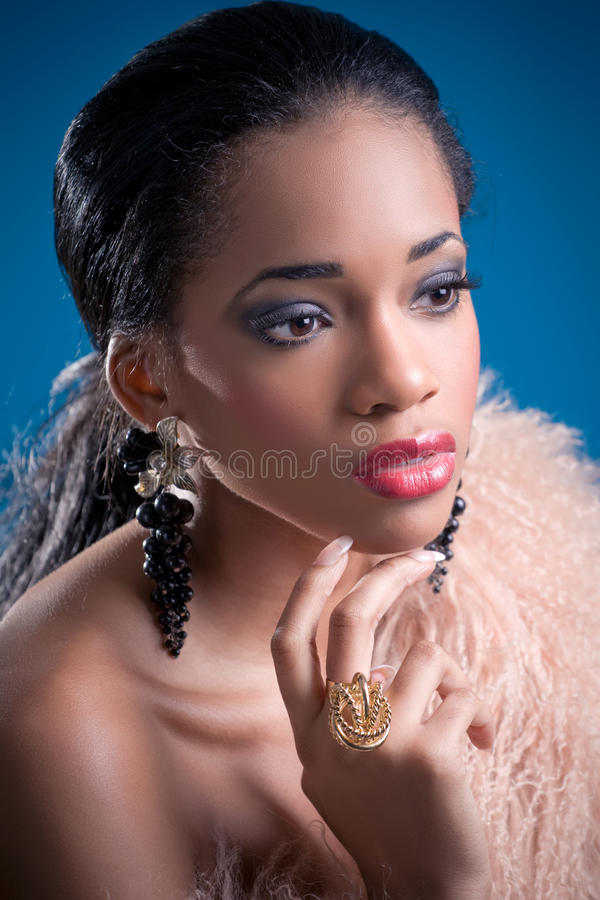 Beauty shot of a young black woman stock photography