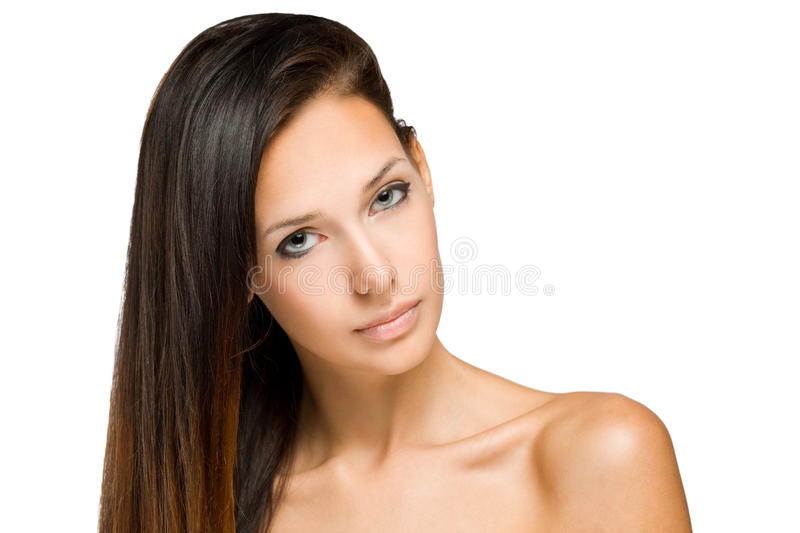 Beauty shot of young brunette woman. royalty free stock images