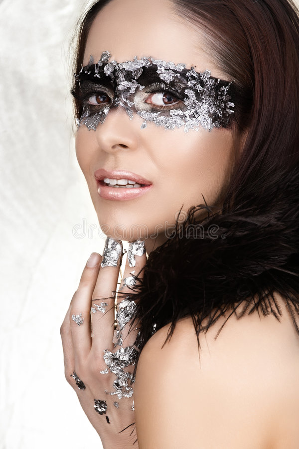 Beauty with silver leaf stock image