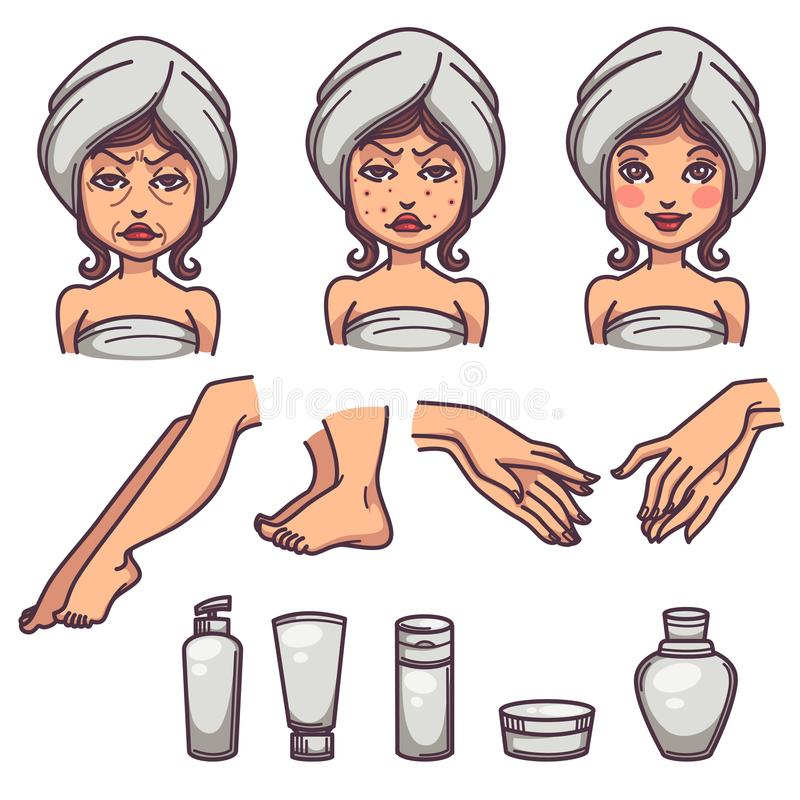 Beauty, skin care and body treatment, skin problems and beauty p. Roducts, line art objects collection stock illustration