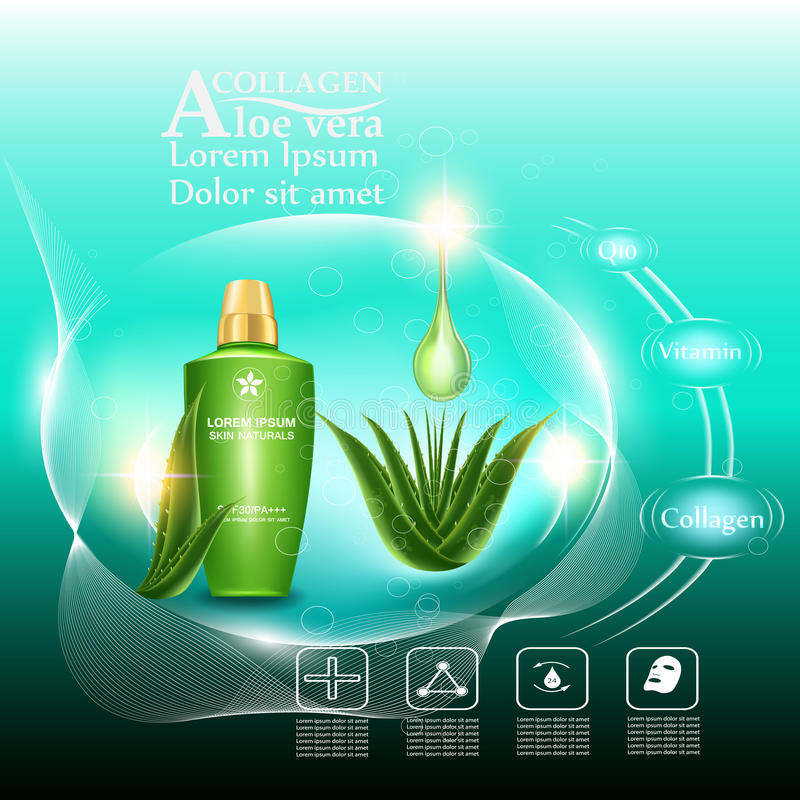 Beauty skin care. Serum cream and Vitamin Beauty Concept Skin Care Cosmetic.Background Vector Concept with green aloe vera leave , serum anti aging whitening and royalty free illustration