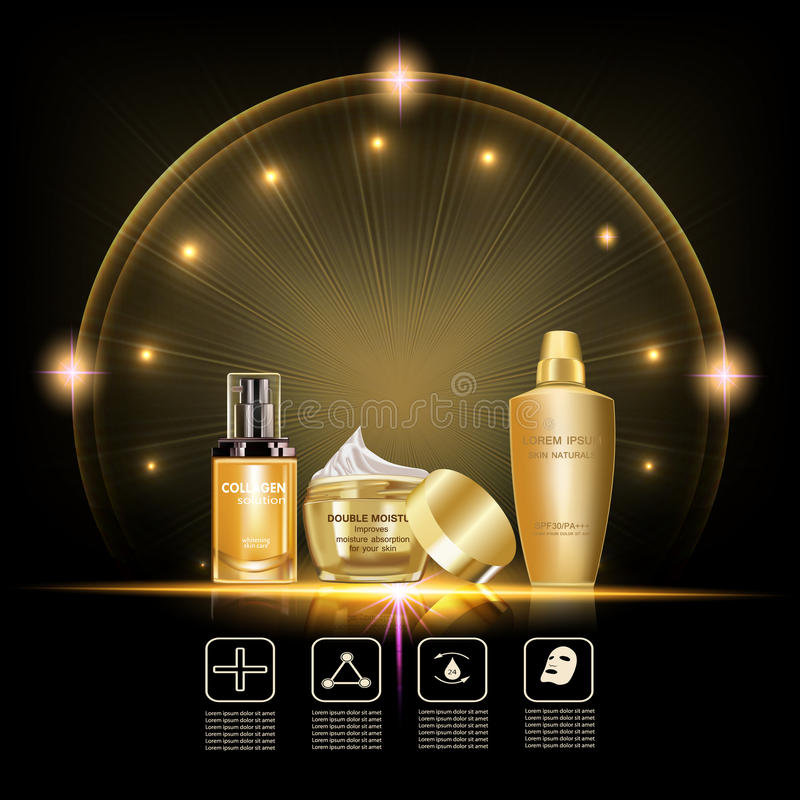 Beauty skin care set. Double moisture cream,collagen solution,lotion cream,gold packages in the lighting effect stock illustration