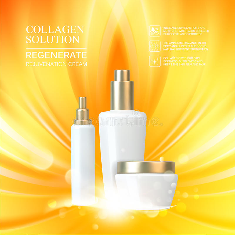 Beauty skin care set. Double moisture cream, collagen solution, lotion cream, gold packages over the smooth light lines lighting effect. Vector illustration royalty free illustration