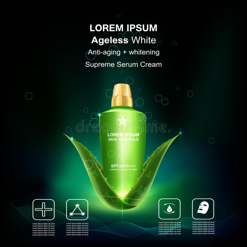 Beauty skin care. Supreme serum cream and Vitamin Beauty Concept Skin Care Cosmetic.Background Vector Concept on green aloe vera leave , serum anti aging vector illustration