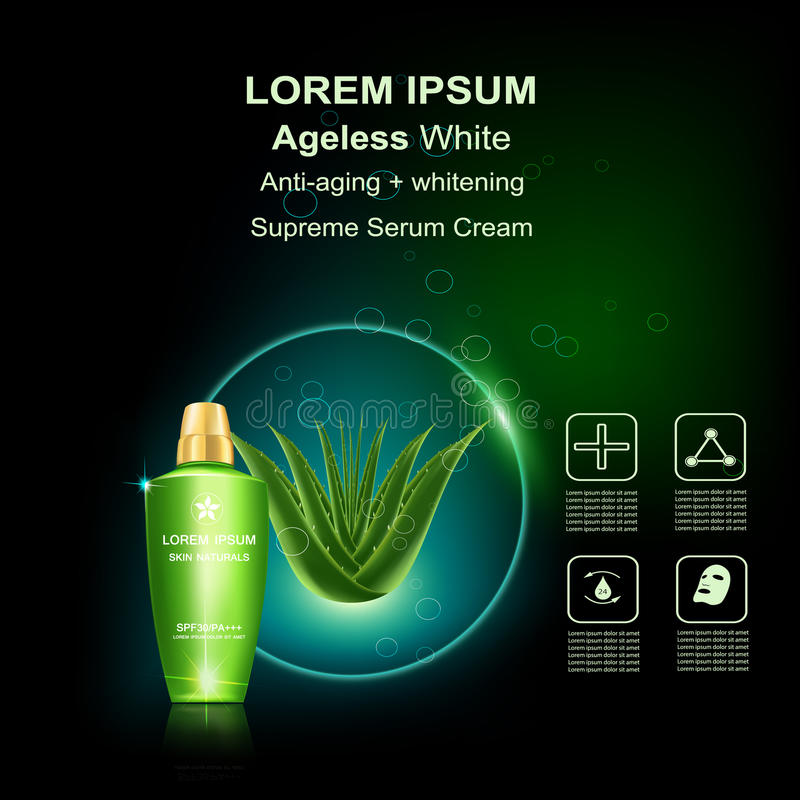 Beauty skin care. Supreme serum cream and Vitamin Beauty Concept Skin Care Cosmetic.Background Vector Concept with green aloe vera leave , serum anti aging vector illustration