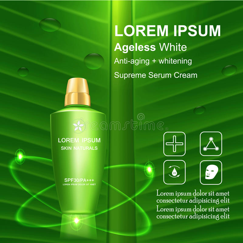 Beauty skin care. Supreme Serum cream and Vitamin Beauty Concept Skin Care Cosmetic.Background Vector Concept on green banana leave , serum anti aging whitening stock illustration