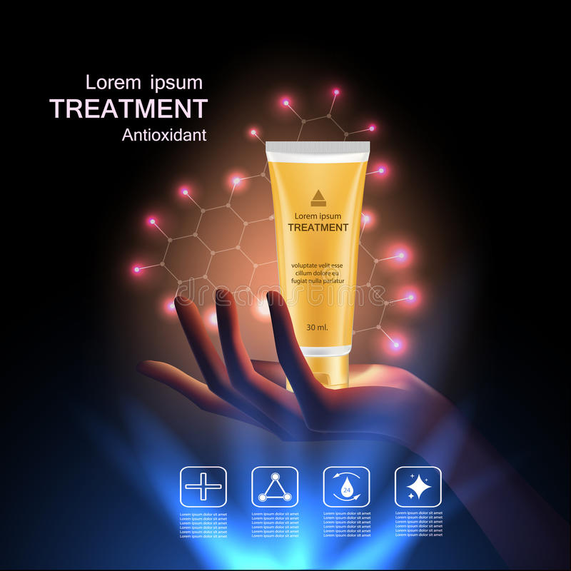 Beauty skin care. Treatment antioxidant cream , Vitamin Beauty Concept Skin Care Cosmetic.Background Vector Concept with gold package in hand and lighting effect royalty free illustration