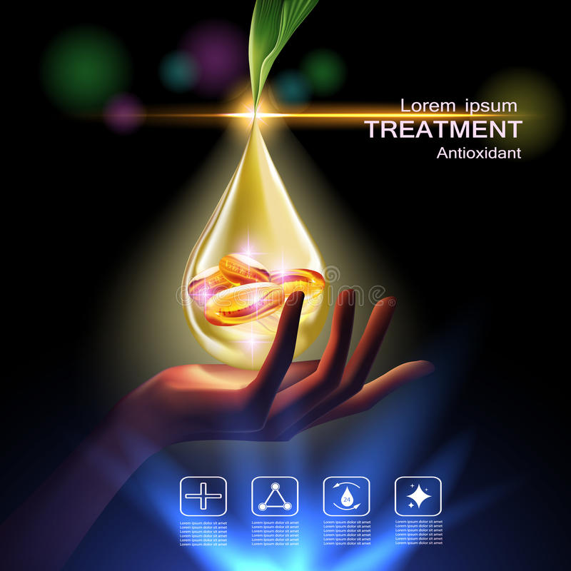 Beauty skin care. Treatment antioxidant cream , Vitamin Beauty Concept Skin Care Cosmetic.Background Vector Concept with Vitamin E Capsules in gold drop of water stock illustration