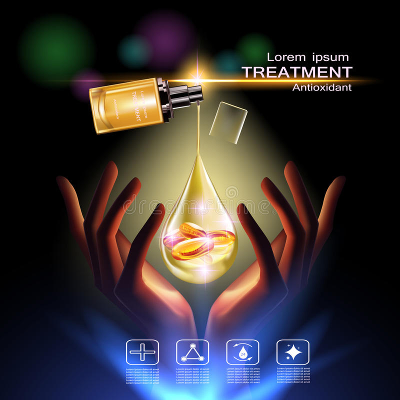 Beauty skin care. Treatment antioxidant cream , Vitamin Beauty Concept Skin Care Cosmetic.Background Vector Concept with Vitamin E Capsules in gold drop of water royalty free illustration