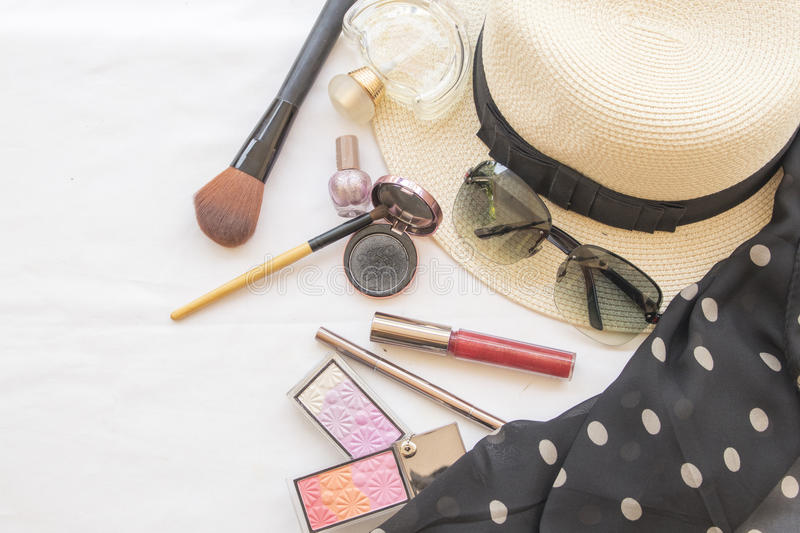 Beauty skin face set cosmetics makeup and prepare relax travel of woman stock images