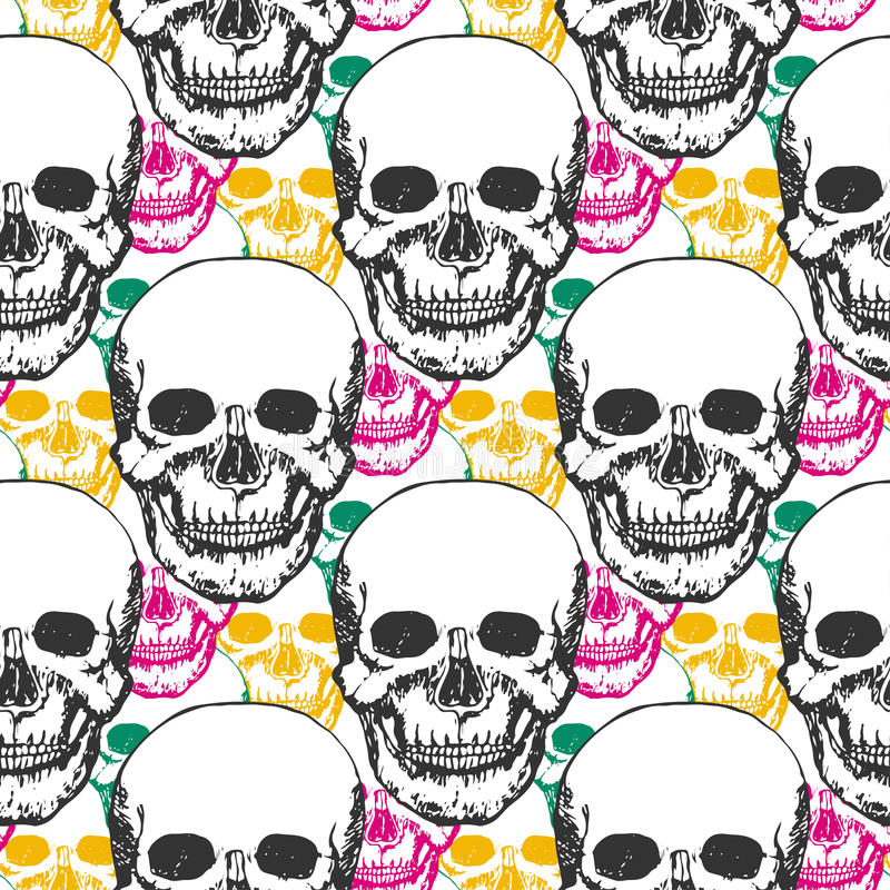 Beauty skulls pattern. Hand drawn seamless background with color triangle for textile, fabric, wrapping. Vector art royalty free illustration