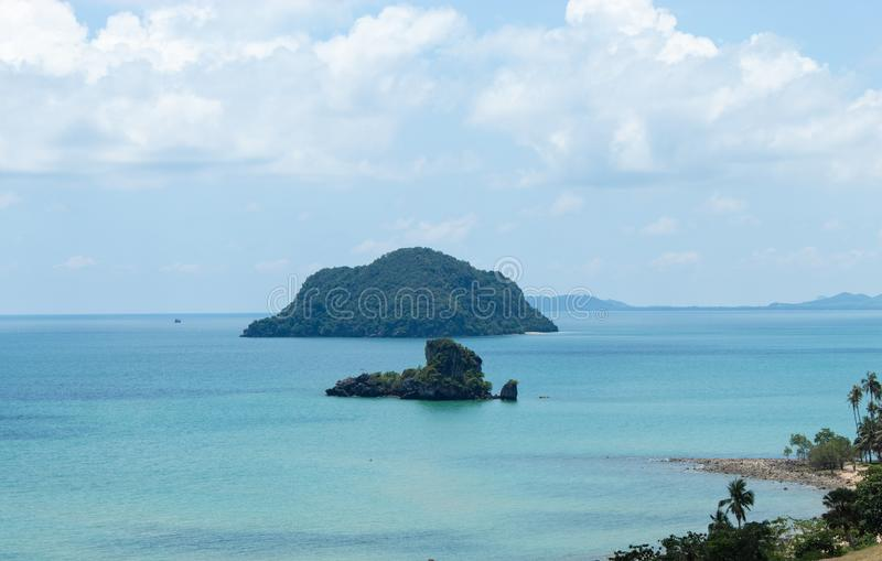 The beauty of the sky and the sea on Sairee Sawee Beach. At Chumphon stock image