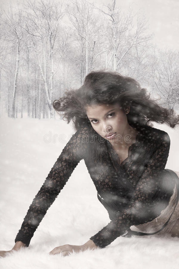 Beauty and snow royalty free stock photo