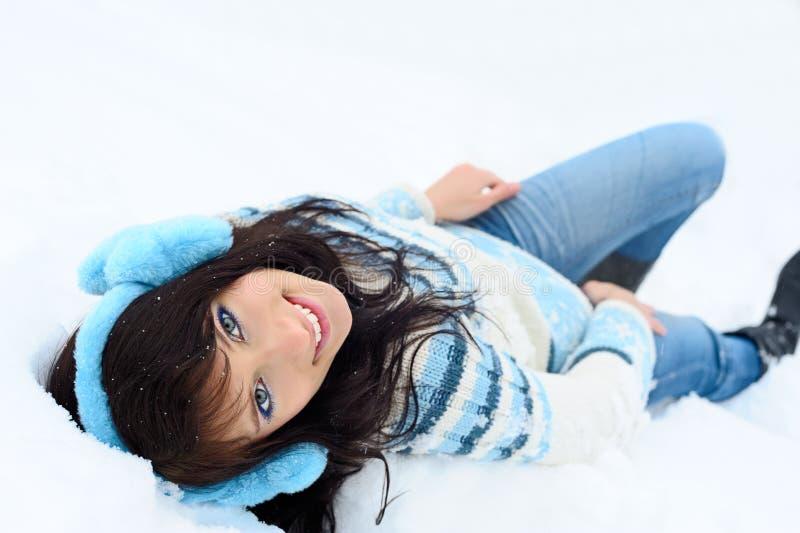 Beauty on snow stock photos