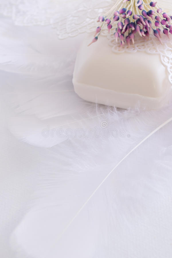 Free Beauty Soap, Feathers, Lace And Artificial Flower Royalty Free Stock Images - 24432309