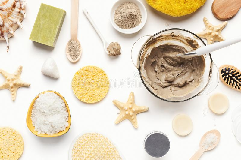 Beauty spa background with various cosmetic products stock photography