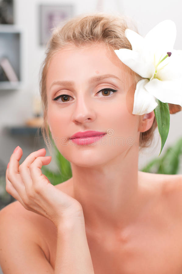Beauty and spa. Beautiful young woman with clean fresh skin stock images