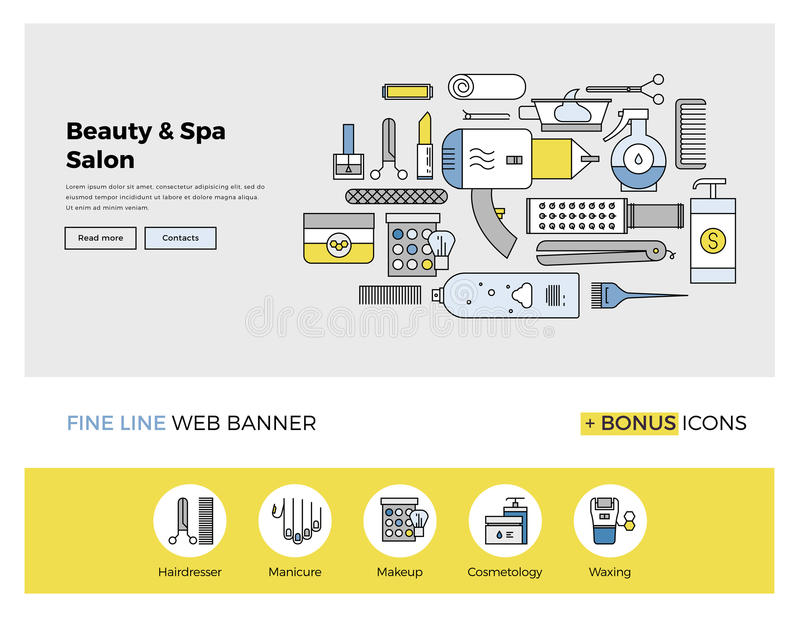 Beauty and spa flat line banner. Flat line design of web banner template with outline icons of professional beauty salon services, makeup accessories and spa vector illustration