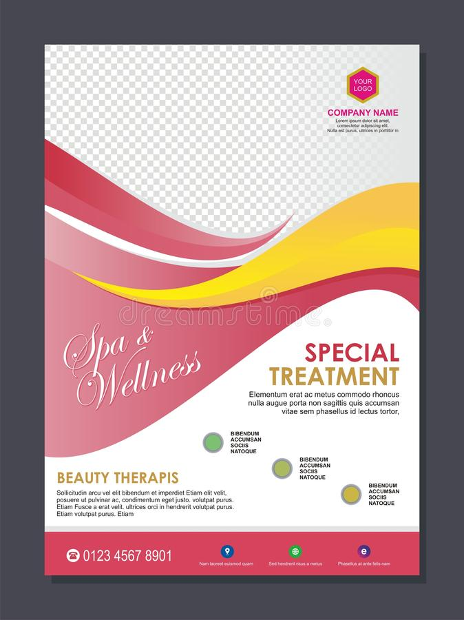 Beauty Spa flyer template with stylish wave design stock illustration