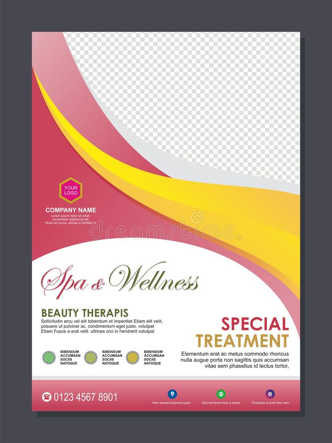 Beauty Spa flyer template with stylish wave design royalty free illustration