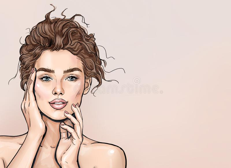 Beauty Spa Woman with perfect skin Portrait. Beautiful Brunette  Girl with hands near face. Proposing a product. stock illustration