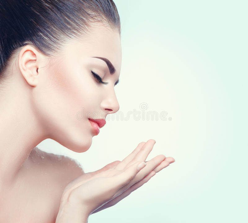 Beauty spa woman with perfect skin royalty free stock photos