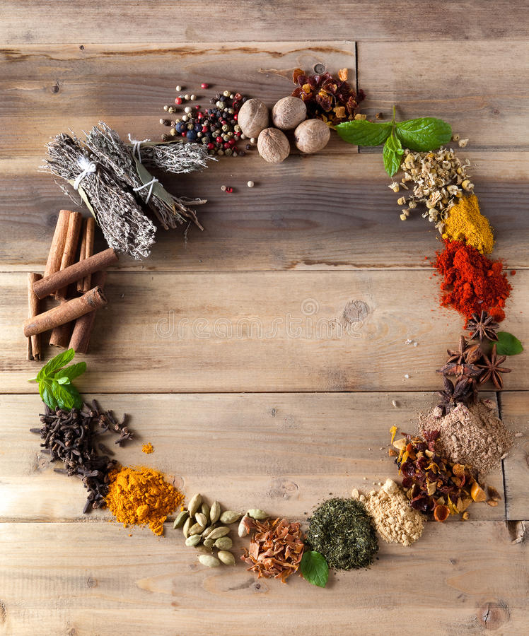 Beauty of spices and herbs royalty free stock image