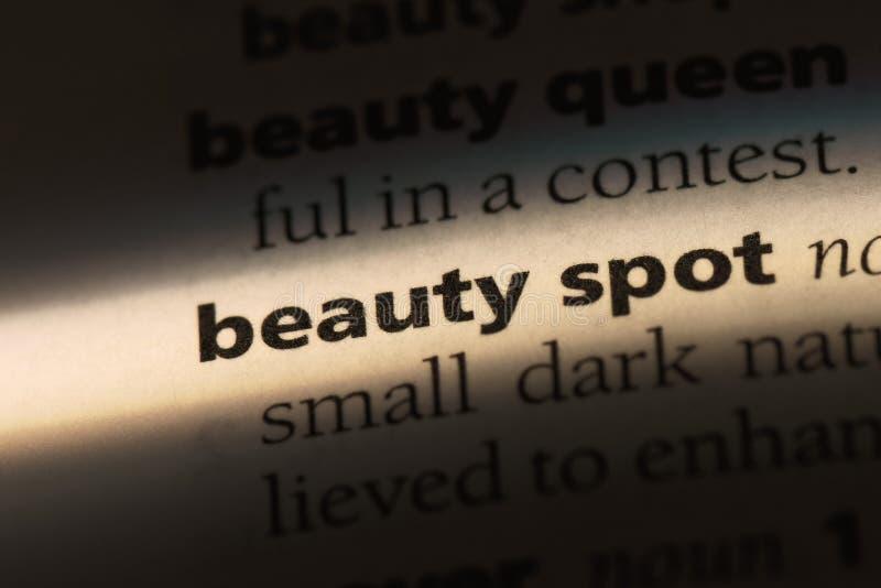 Beautyspot. Beauty spot word in a dictionary. beauty spot concept stock image