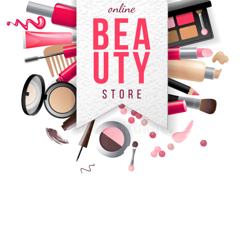 Beauty Store Emblem With Type Design And Cosmetics Stock