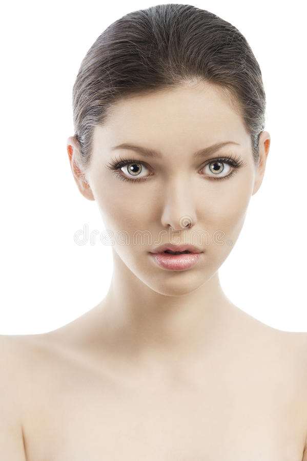 Beauty style face shot, she is in front royalty free stock photos