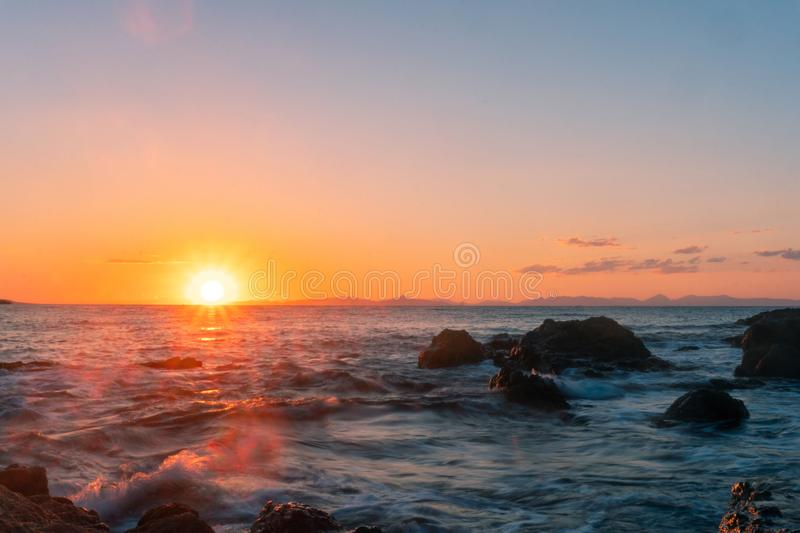 Beauty summer sunset at the sea royalty free stock photos
