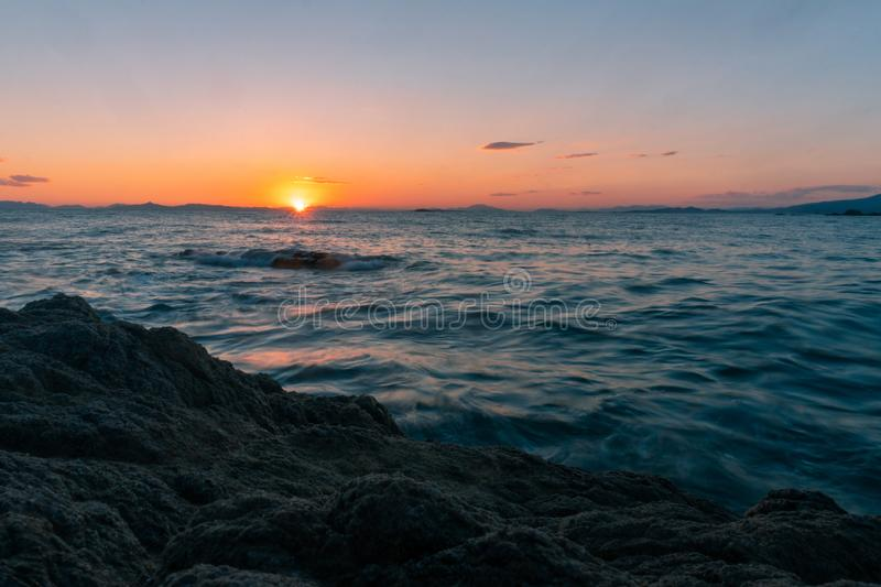 Beauty summer sunset at the sea royalty free stock images