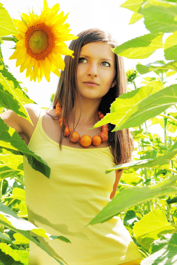 Beauty in sunflowers. Young beautiful woman in sunflowers stock photos